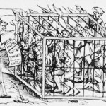 Artwork of a 17th century idiot cage