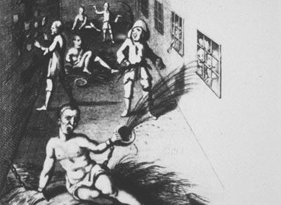 Artwork showing inmates in an 18th century asylum